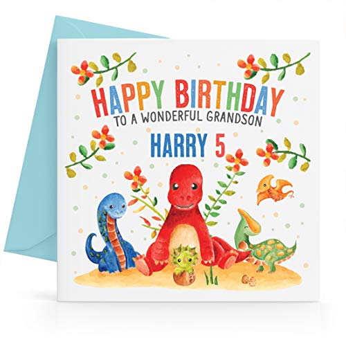 Personalised Boys Dinosaurs Jungle Birthday Card Any Age, Relative & Message