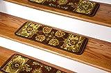 Dean Premium Super Soft Nylon Carpet Stair Treads/Runner Rugs - Renaissance Brown - Set of 15