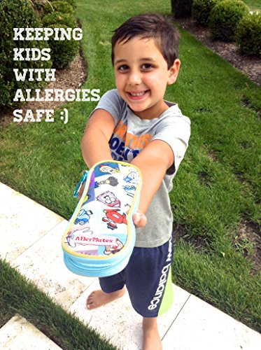 AllerMates - Allergy Medicine Carrying Case for EpiPen or Auvi-Q auto-injectors: Squares Pattern - Epipen Case Photo #3