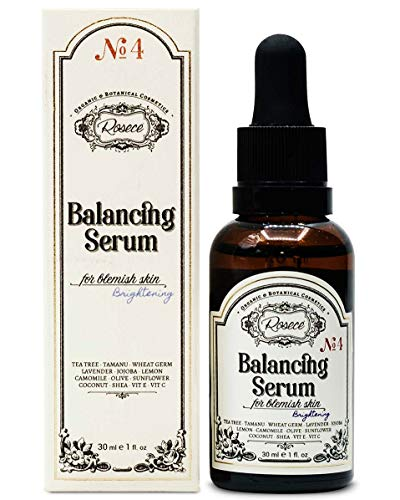 Rosece Natural Serum Vegan, Cruelty Free - Tamanu, Rosemary, Tea Tree, Centaury, Lavender Essential Oils & Vitamin E, refreshing, repairing face serum 1 fl oz Balancing Serum for Blemish Skin