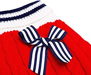 SMALLLEE_Lucky_Store Pull Pull-Overs Veste Vêtement Tricot Manteau d'hiver Chaud pour Chihuahua Petit Chien Chaton Chat Rouge XXS