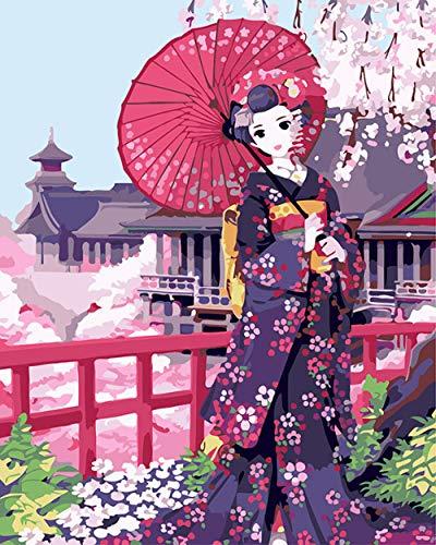 Schilderen op nummer, doe-het-zelf olieverfschilderij voor kinderen en volwassenen, beginners Japanse kimono, 16 x 20 inch, canvasdruk, muurkunst, decoratie zonder lijst