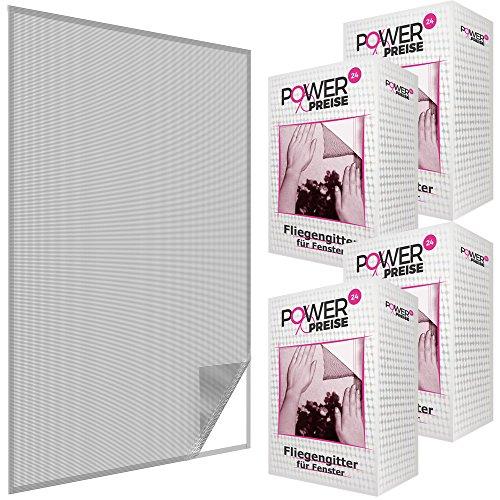 Fliegengitter Fenster 130x150 cm Schwarz 4er Set - Durchsichtiges & Kürzbares Fliegennetz mit 5,6m Klettband - zuverlässiger Schutz vor Mücken, Fliegen & Insekten - Insektenschutz ohne Bohren