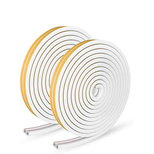 XEUYUTR 66 Feet Long Weather Stripping for Doors/Windows, Self Adhesive Foam Weatherstrip, Soundproofing Weatherstrip Gap Blocker, Collision Avoidance Rubber Self-Adhesive Weatherstrip(2 Pack, White)