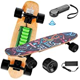 Electric Skateboard with Remote Control,12.4 MPH Top Speed,350W Motor,7 Layers Maple Skateboard,25,4'' Skateboard for Adults Teens Youths(US Stock)
