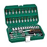 Extenso 46pcs Profesional llave de tubo Set 1/4 pulgadas Destornillador de trinquete Juego de llaves del coche del kit de herramientas de reparación combinación de la mano del sistema de herramienta u