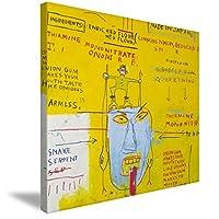 Suigo アートフレーム バスキア ポスター ウォールステッカー アートパネル アートポスター モダン 壁掛け 印象派絵画 抽象装飾画 キャンバス絵画 部屋飾り アート絵画壁の絵 壁掛けフレームポスター 壁アート ファッション オシャレDIYデザイン (yellow, 30x30)
