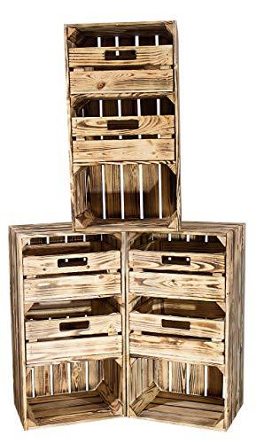 Vintage Möbel 24 GmbH 2X Rustikale geflammte Holzkisten/Regalkiste mit Zwei Schubladen, ideal als kleine Kommode mit genug Stauraum, neu, 40x31x68m