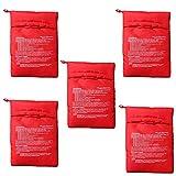 DXIA 5 Pcs Bolsa para Patatas Microondas, Bolsa de Papas para Microondas, Lavable Reutilizable Bolsa de Patata de Microondas Bolsa de Cocina Perfecto Patatas Sólo en 4 Minutos, Rojo