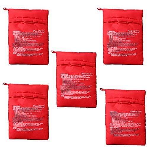 DXIA 5 Pezzi Patate Microonde Patate Pouch, Microonde Patata Fornello Borsa, Potato Express Bag Lavabili Riutilizzabili, Sacchetto di Patate a Microonde, Sacco Cuoci Patate, Solo in 4 Minuti, Rosso