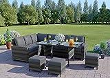 Abreo Rattan Dining Set <span class='highlight'>Furniture</span> <span class='highlight'>Garden</span> Corner 9 Seater Black Brown Dark Mixed Grey (Dark Mixed Grey With Dark Cushions)