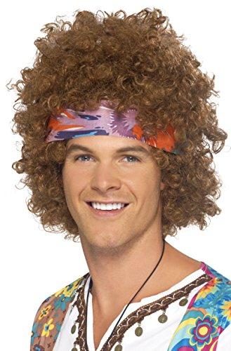 Smiffys Herren Hippie Afro Perücke mit Kopftuch, One Size, Braun, 43235