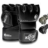 Guanti Martial MMA con Imbottitura di Alta qualità! Guantoni da Boxe per Alta stabilità nel Polso. Guanti da Combattimento Libero Lunga Durata per Arti Marziali, Boxe, Kickboxing, Sparring!