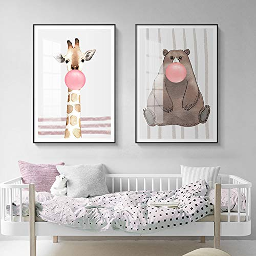 N / A Rahmenlose Malerei Wohnzimmer Kinder niedlich Tier Wanddekoration Bär Elefant und Giraffe mit Luftballons HauptdekorationZGQ7616 50X67cmx2