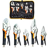 KOTTO 5 Pack Set Locking Pliers Set, 5 Inch, 7 Inch and 10 Inch Curved Jaw Locking Pliers, 7 Inch and 9 Inch Long Nose Locking Pliers with Storage Bag