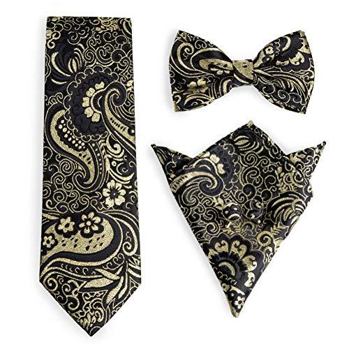 WOXHY Cravate Homme Hanky Boutons de Manchette Noeud Papillon Ensemble Cravate en Soie Noeuds Papillon pour Hommes fête de Mariage Affaires