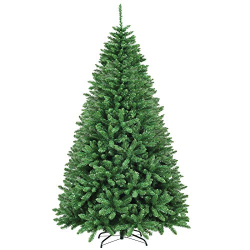 Goplus 9ft Artificial Douglas Christmas Tree, Unlit Hinged Pine Tree, with 3594 Branch Tips and Solid Metal Stand, Easy Assembly Xmas Tree for Indoor and Outdoor