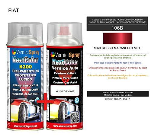 Kit Vernice Auto Spray 106B ROSSO MARANELLO MET. e Trasparente Lucido Spray - kit ritocco vernice metallizzata 400+400 ml di VerniciSpray