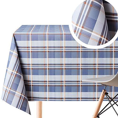 Blue Tartan Checker Pattern Wipe Clean Tablecloth - Textil Look - Rectangular 200x140 cm | 78x55in - 6 Seats, Waterproof Vinyl PVC Wipeable Plastic Cream Plaid Table Cover - Garden Dining Oil Cloths