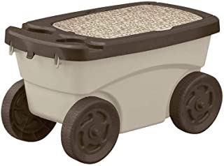 Suncast Outdoor Rolling Garden Scooter - Durable Plastic Portable Garden Seat Rolls in Grass and Dirt - Carries Garden Supplies