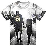 FGHUB KO-Be Bryant 24 Camisas, Herren Basketball Star 24 Number Farewell Tribute Camiseta Sudadera, 3D-gedruckter Casual Pullover, Fashion Basketball Memorial T Shirt Kurzarm (5XL,I)
