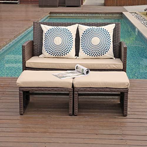 OC Orange Casual Outdoor Loveseat 3 Piece Patio Furniture Set Outdoor Conversation Set All Weather product image