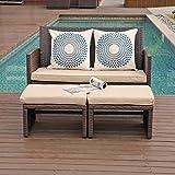 OC Orange-Casual Outdoor Loveseat 3 Piece Patio Furniture Set Outdoor...