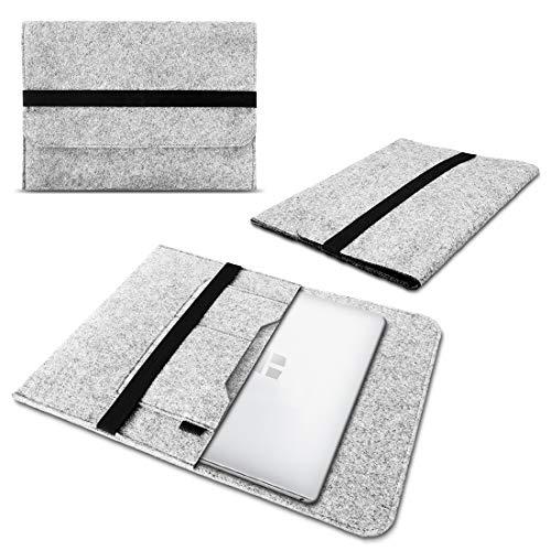 Schutzhülle kompatibel für Trekstor Primebook C13 / P14 / P14B / P13 Filz Tasche Sleeve Hülle Laptop Cover Notebook Hülle, Farbe:Hell Grau