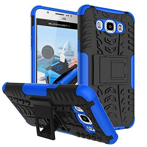 pinlu® Funda para Samsung Galaxy J7 (2016 Version, 5.5 Pulgada) J710 Smartphone Doble Capa Híbrida Armadura Silicona TPU + PC Armor Heavy Duty Case Duradero Protección Neumáticos Patrón Azul