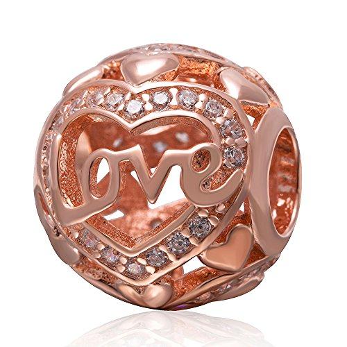 Charm-Anhänger in Herzform, Rotgold, 925 Sterlingsilber, für Pandora-Charm-Armbänder