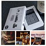 9 x Piedras Whiskey Chilling Rocks Granite Ice Cube Stones - Drinks Cooler Cubes for Whisky Scotch on The Rocks Gift with a Storage Whiskey Stones Pouch Reutilizable Piedra de Hielo