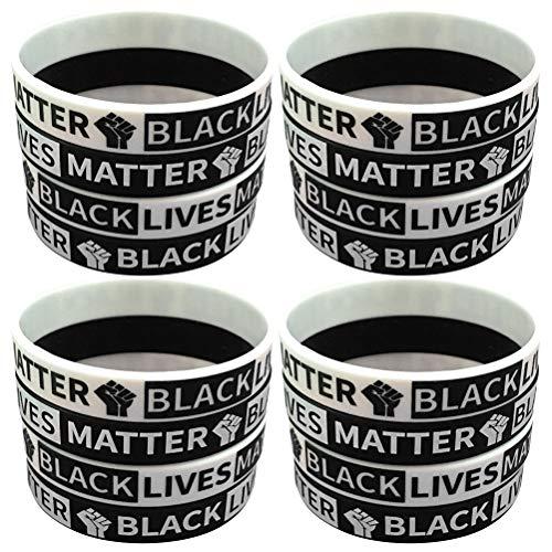ABOOFAN 20 pulseras deportivas de baloncesto y gel de sílice de mano de círculo de muñeca decorativas (negro, blanco por cada 10)