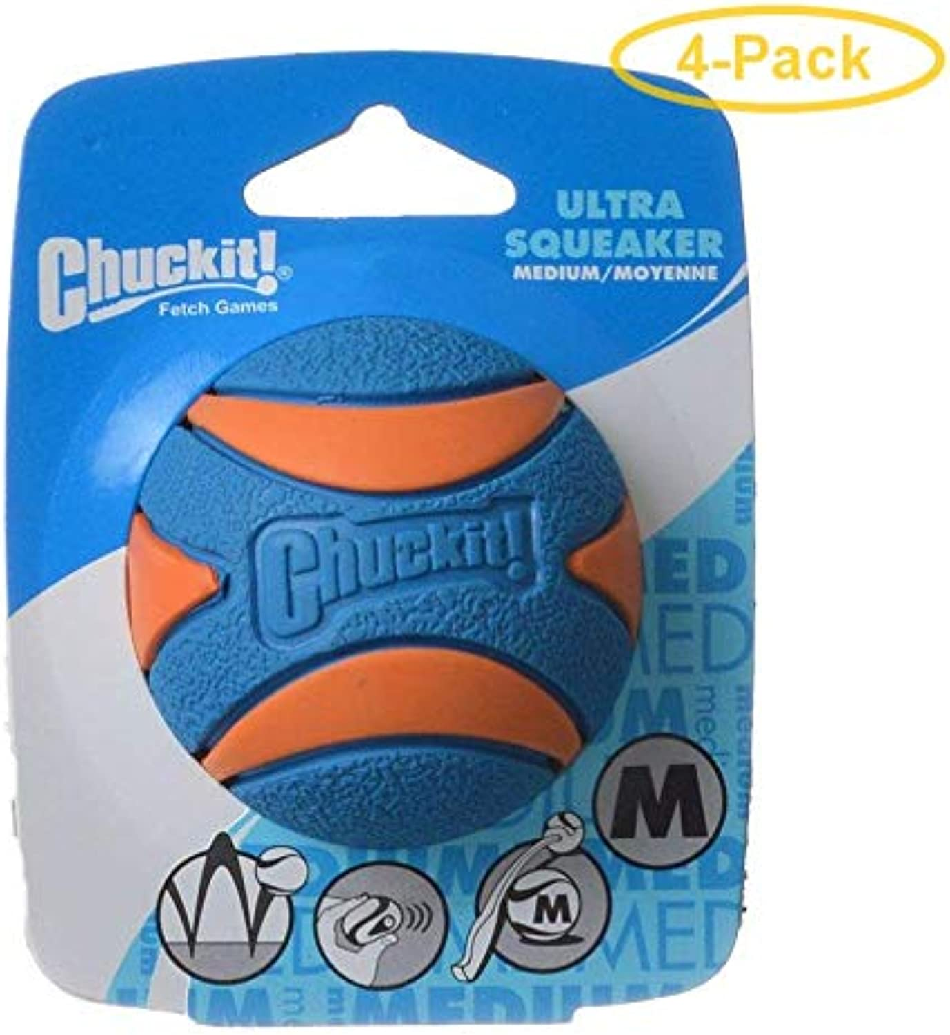 Chuckit Ultra Squeaker Ball Dog Toy Large (3  Diameter) (4 Pack)