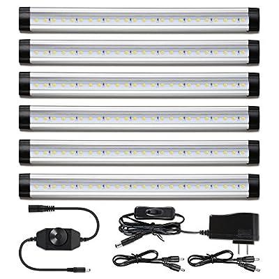 Albrillo LED Under Cabinet Lighting, Dimmable Under Counter Lighting, 2000lm Daylight White LED Strip Lights for Kitchen Shelf Cupboard, 6 Pack