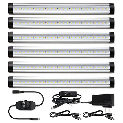 Albrillo Under Cabinet Lighting Kit, Dimmable Under Counter LED Light Strips for Kitchen Closet Shelf Cupboard, Warm White 3000K, Plug-in, 6 Pack