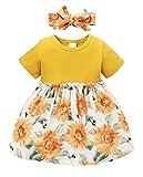Amissz Robe bébé fille bébé fille manches courtes t-shirt tutu robe + noeud papillon tenue enfant tulle jupe princesse été (6 mois - 3 ans), jaune, 2 ans