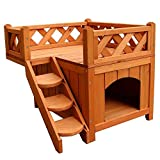 Panow Pet Cat House, Wooden Cat Room Shelter with Stairs, Raised Roof and Balcony Bed for Indoor and Outdoor Use, Wood Cat House