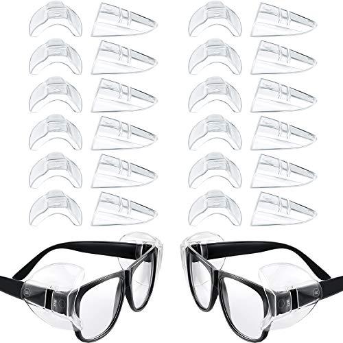 12 Pares de Gafas Protectoras Laterales Antideslizantes Gafas Transparentes Protector Lateral Protector Lateral Flexible para Anteojos Pequeños o Medianos