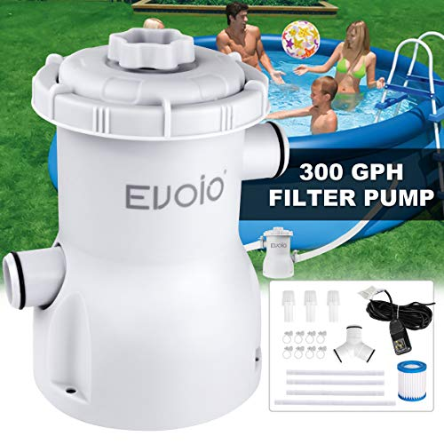 Evoio Pool Filter Pump Above Ground, 1000 Gallons Swimming Pool Filter Cartridge Pump, Electric Pool Water Pump Filter for Pools Sand Cleaning Tool Set with 1 Pool Filter Cartridge (White2)