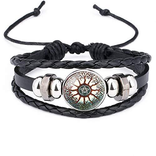 Giwotu Womens Black Occult The Inverted Star Sign Pentagram Satanic Pentagram Star Symbols Glass Leather Bracelets Men Women Jewelry 12011102