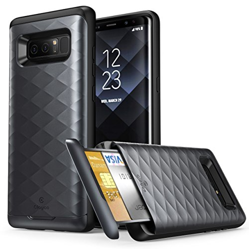 Galaxy Note 8 Case, Clayco Argos Series Premium Hybrid Protective Wallet Case for Samsung Galaxy Note 8 (Built-in Credit Card/ID Card Slot) (Black)