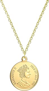 Vintage Queen 18K Gold Plated Coin Pendant Necklace for Women Girls S925 Sterling Silver Dainty Round Disc Dos PESOS Godde...