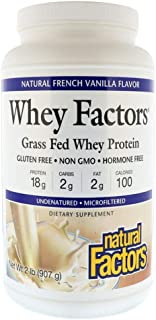 Natural Factors Whey Factors Grass Fed Whey Protein Natural French Vanilla Flavor - 907 g