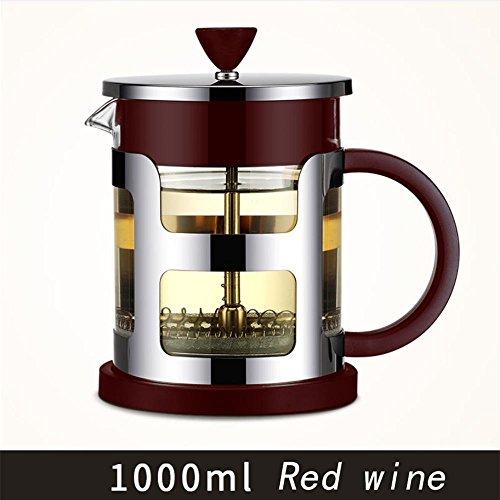 HAHT 304RVS Dikke Glazen Pot Filter Franse Pot Europese Hand Koffiepot Koffiepot en theepot Hand Koffie Pot (600ml & 1000ml), rode Wijn