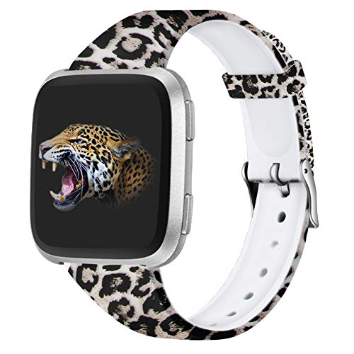 Hamile Replacement Bands Compatible with Fitbit Versa & Versa 2 & Versa Lite Edition & Versa SE, Slim Silicone Fadeless Floral Straps for Fitbit Versa Watch, Women Men, Small (Classic Leopard)
