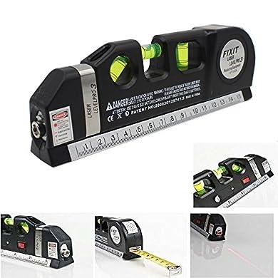 Foto di takestop® LIVELLA Laser Tripla Level PRO 4 in 1 con Illuminazione Metro 250 CM di PRECISIONE 3 Bolle Fai da Te Elettronica