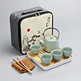 DHGDB Set de té de Viaje de Cerveza Seca Conjunto de té de bambú portátil al Aire Libre Hermano Horno cerámica De otoño personalización de Regalo Promocional