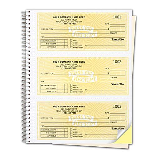CheckSimple Customized Cash Receipt Books, 3-Per-Page w/ 2-Part Duplicates, Wire-Bound Book, Yellow (500 Receipts)
