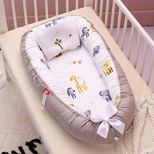 Baby Nest, Infant Co-Sleeping Newborn Baby Bassinet Snuggle Bed Nest,100% Cotton Breathable Soft Portable Crib Mattress for Bedroom Travel