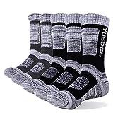 YUEDGE Men's 5 Pairs Wicking Breathable Cushion Anti Blister Casual Crew Socks Outdoor Multi Performance Hiking Trekking Walking Athletic Socks, Black/Dark Grey, L (Men Shoe 6-9 UK Size)